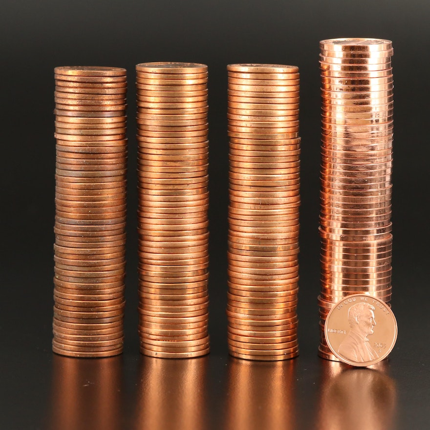 Four Rolls of Uncirculated and Proof Lincoln Cents