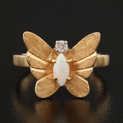 14K Opal and Diamond Butterfly Ring Featuring Matte Finish