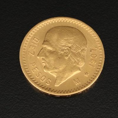 1907 Mexico 10 Pesos Gold Coin