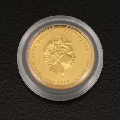 """.999 Fine Gold Australian """"Year of the Pig"""" $5 Coin, 2019"""