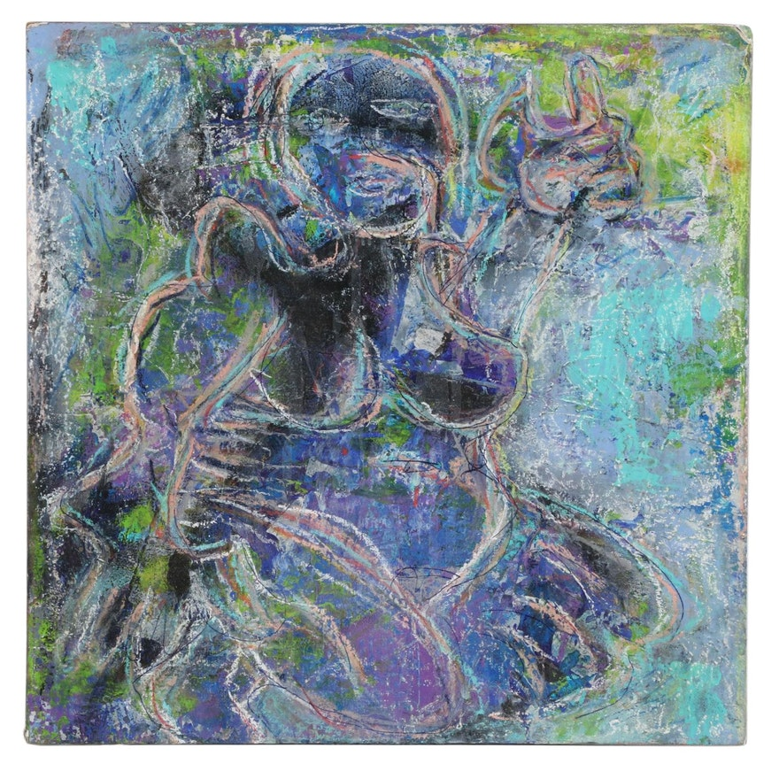 Janice Schuler Abstract Figure Mixed Media Painting, 2016
