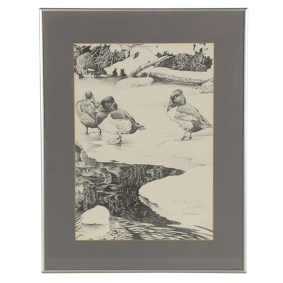 Robert Bateman Offset Lithograph of Ducks in Winter Landscape, 1985