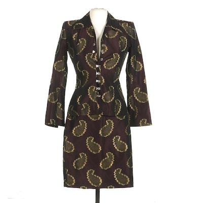 Vertigo Paris Paisley Jacquard Skirt Suit, Made in France