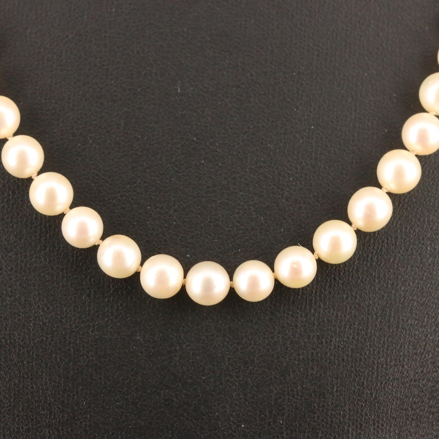 Vintage Knotted Pearl Necklace with 14K Clasp