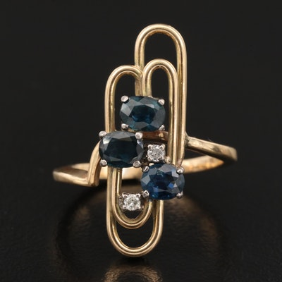 Vintage 14K Sapphire and Diamond Geometric Ring