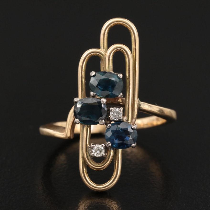 Vintage 14K Sapphire and Diamond Geometric Ring