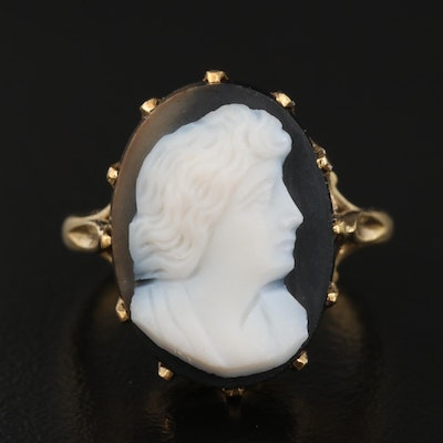 Vintage 18K Onyx Cameo Ring