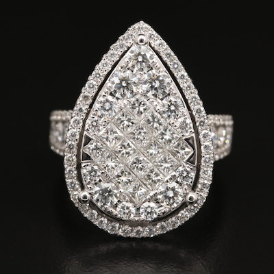 18K 3.04 CTW Diamond Pear Shaped Ring