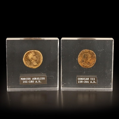 Two Ancient Roman Imperial Coins in Lucite
