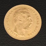 Swedish 10 Franc Gold Coin, 1869