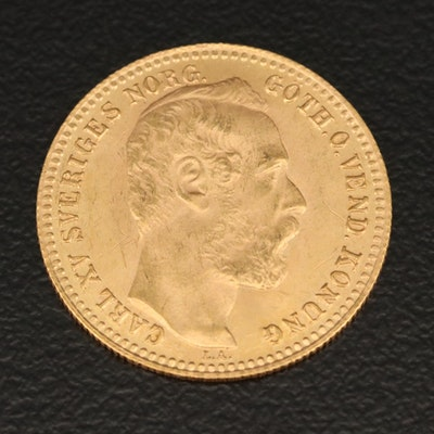 Swedish 10 Franc Gold Coin, 1869