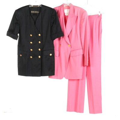 Escada Polished Cotton Double-Breasted Jacket and Escada Couture Wool Pantsuit
