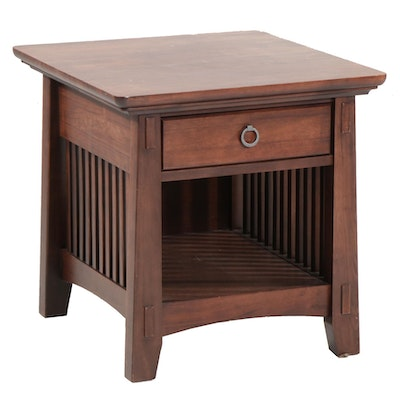 American Signature Furniture Arts & Crafts Style Wood Side Table