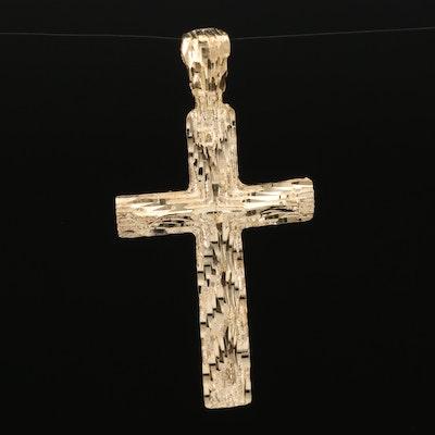 14K Diamond Cut Cross Pendant