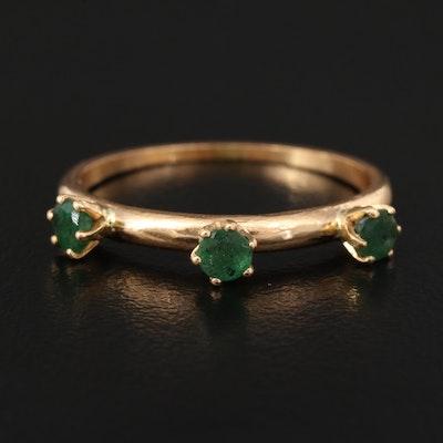 14K Emerald Three Stone Ring