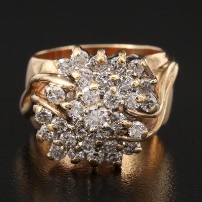 Vintage 14K 1.46 CTW Diamond Cluster Ring