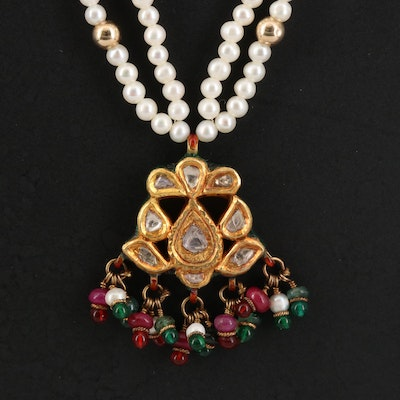 Indian Kundan Multi-Strand Pendant Necklace Featuring Pearl, Glass and Enamel