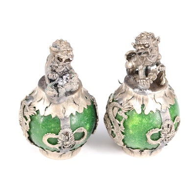 Chinese Guardian Lion Quench Crackled Quartz Hat Finials with Dragons
