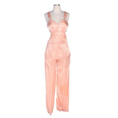 Jean Paul Gaultier Femme Peach Silk Overall Jumpsuit