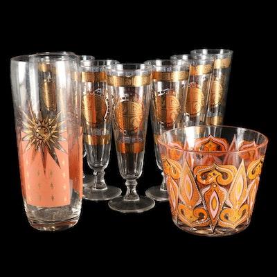 Vito Bari Glass Stemware and Other Gilt Decorated Barware, Mid to Late 20th C.