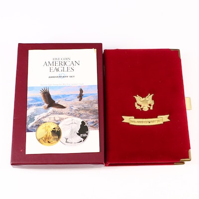 1995 Five-Coin American Eagles Proof Gold and Silver 10th Anniversary Coin Set