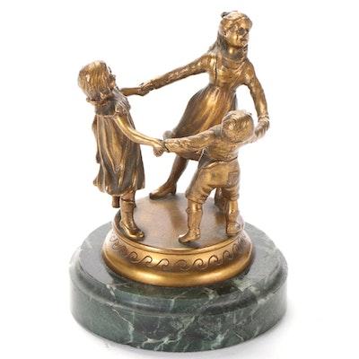 Brass Sculpture after Richard W. Lange of Children Playing