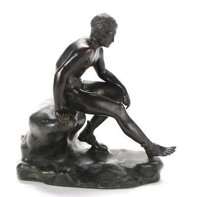 "Spelter Sculpture ""Seated Hermes"""