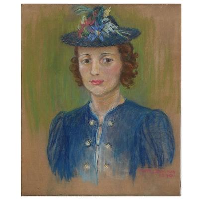 Martha Bowman Pastel Portrait of Young Woman, 1940