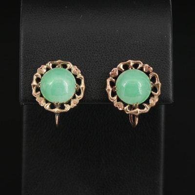 Vintage 14K Jadeite Screw Back Earrings