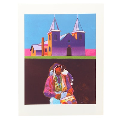 "John Nieto Serigraph ""Anton Chico Church,"" 1996"