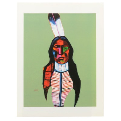 "John Nieto Serigraph ""Plains Warrior,"" 1996"
