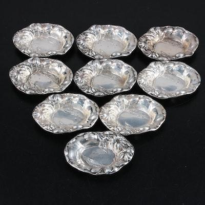 American Floral Repoussé Sterling Silver Nut Bowls