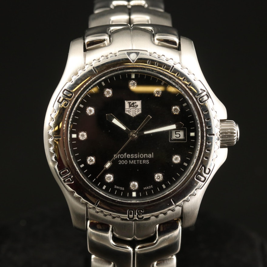 """TAG Heuer """"Link"""" Diamond and Stainless Steel Quartz Wristwatch"""