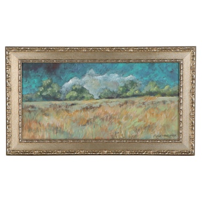 "Robert Riddle Baker Acrylic Landscape Painting ""Fall Horizon"""