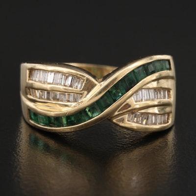 14K Emerald and Diamond Ribbon Band