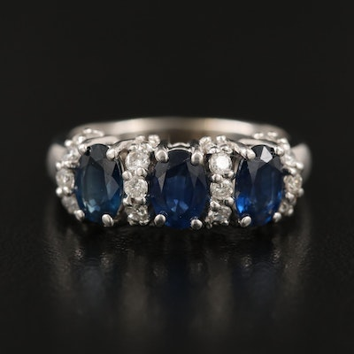 14K 1.35 CTW Sapphire and Diamond Ring