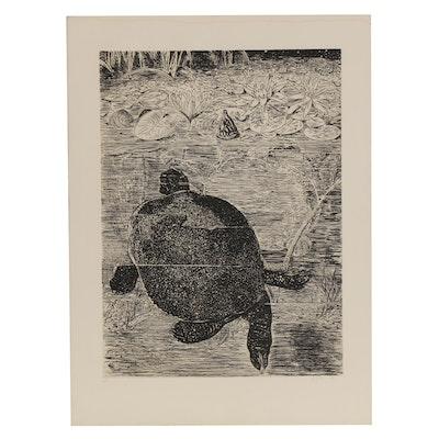 """Etching after Louis Prang """"Pond Turtles"""""""