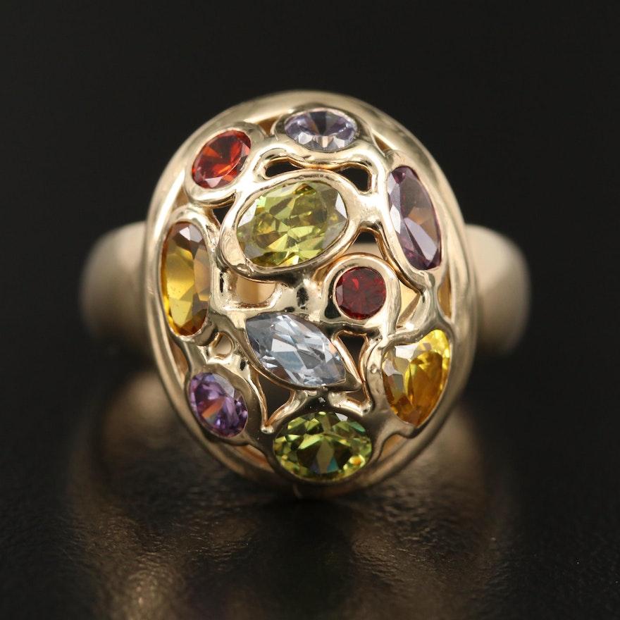 14K Multi-Colored Gemstone Openwork Ring