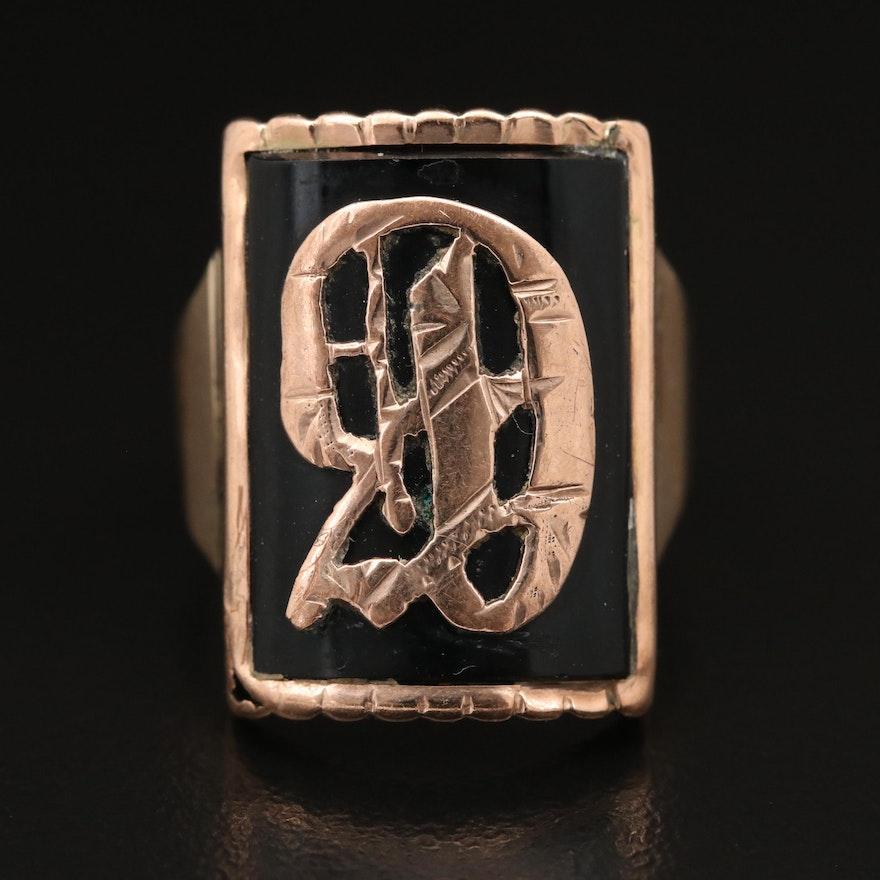 Vintage 10K Monogrammed Black Onyx Signet Ring