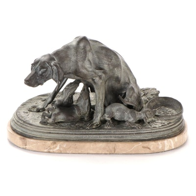 Brass Sculpture after Pierre-Jules Mêne  of Dog and Nursing Puppies