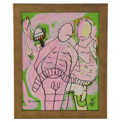 Brian Dale Holmes Abstract Figural Acrylic Painting