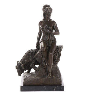 "Bronze Sculpture after Pierre Julien ""Amalthée et la Chèvre de Jupiter"""