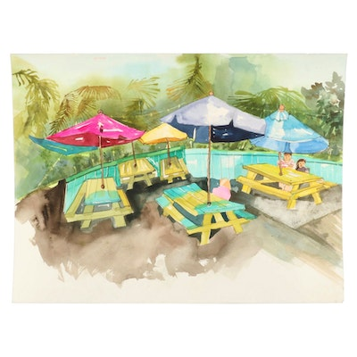 Phiris Sickels Watercolor Painting of Patio Tables with Umbrellas, 21st Century
