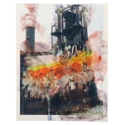 Phiris Kathryn Sickels Oil Refinery Mixed Media Painting, 21st Century