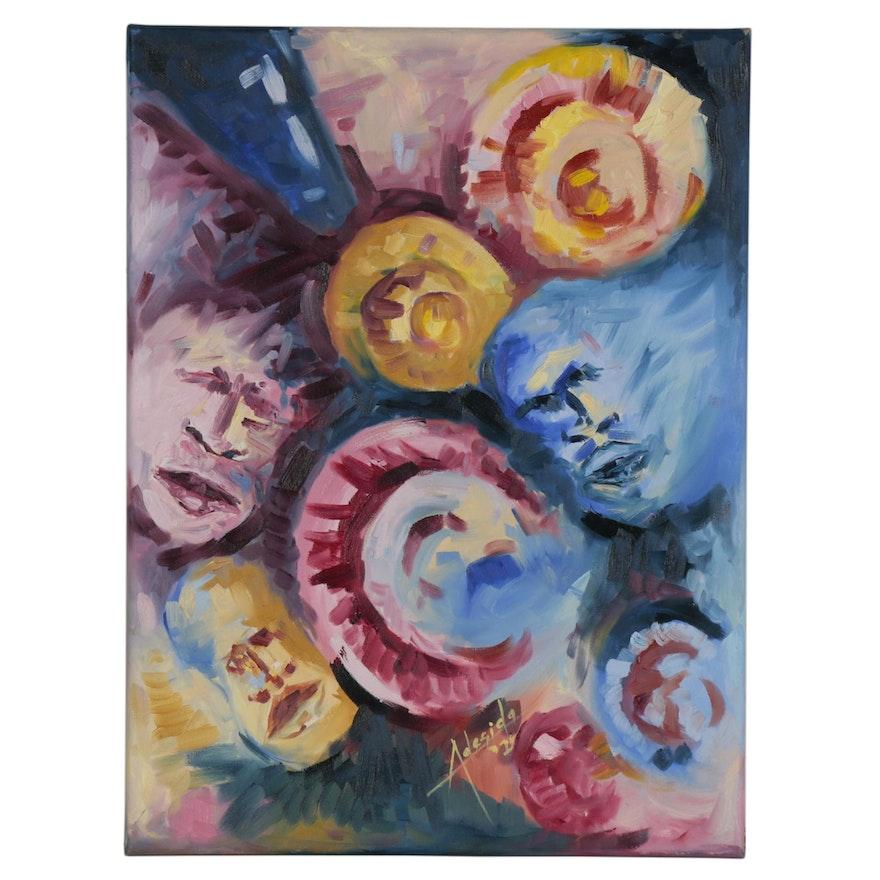 """Adedotun Adesida Abstact Oil Painting """"The Faces,"""" 21st Century"""