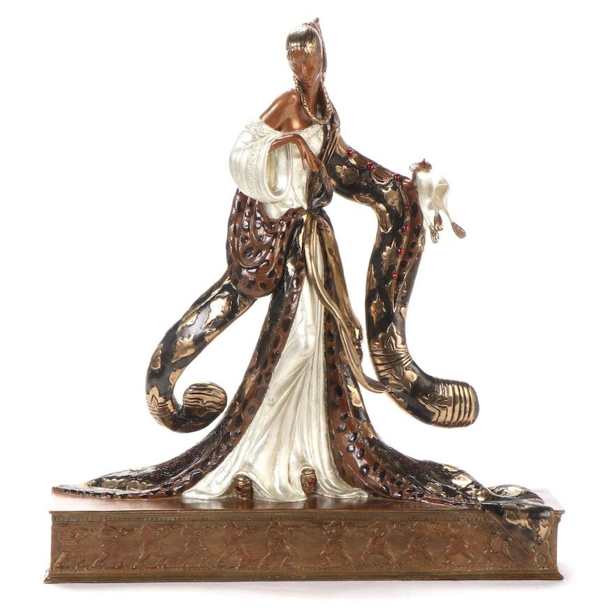 """Erté Patinated Bronze Sculpture """"Rigoletto,"""" 1988"""