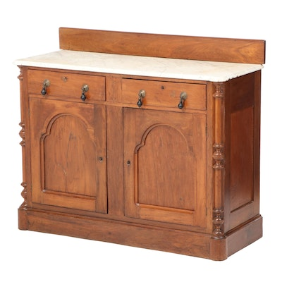 Victorian Walnut and White Marble Sideboard, Late 19th Century
