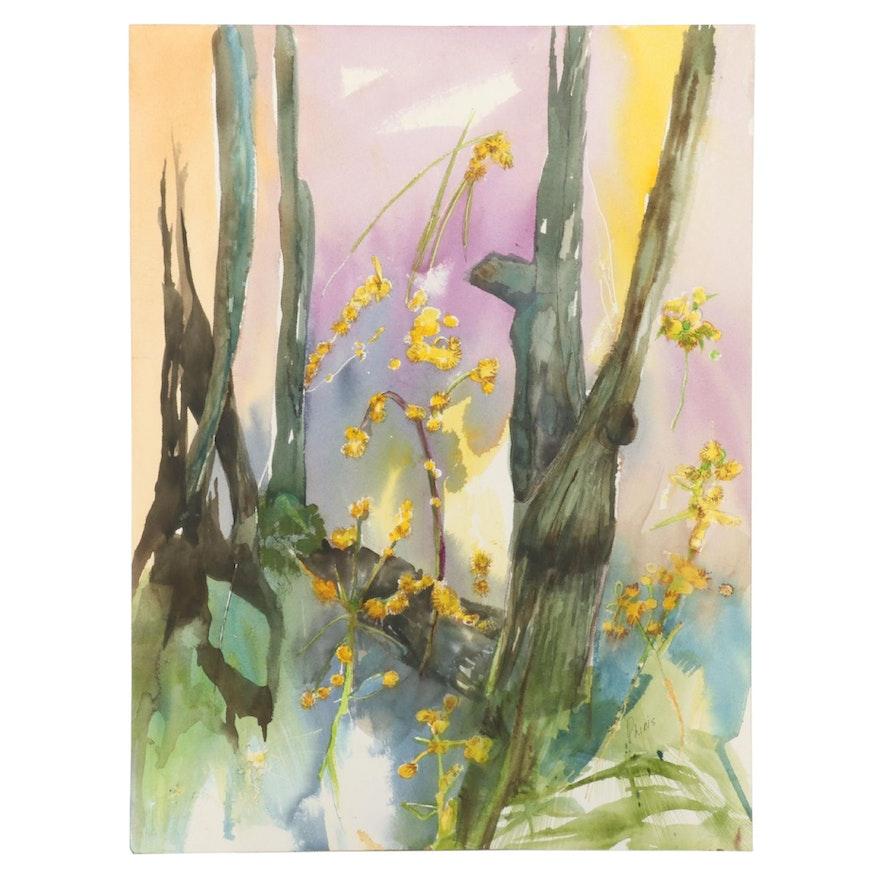 Phiris Sickels Floral Watercolor Painting, 21st Century