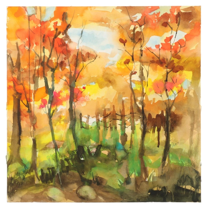 Phiris Kathryn Sickels Watercolor Painting of Autumn Forest Path, 21st Century