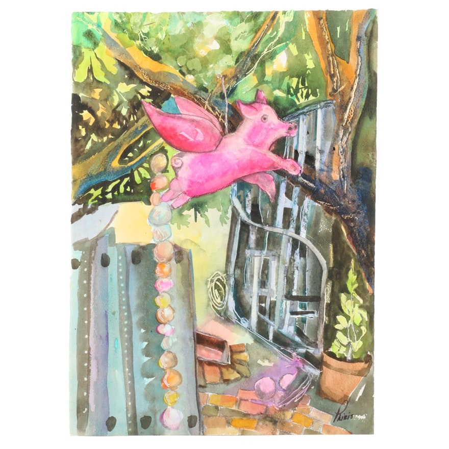 Phiris Sickels Watercolor Painting of Flying Pig Composition, 21st Century